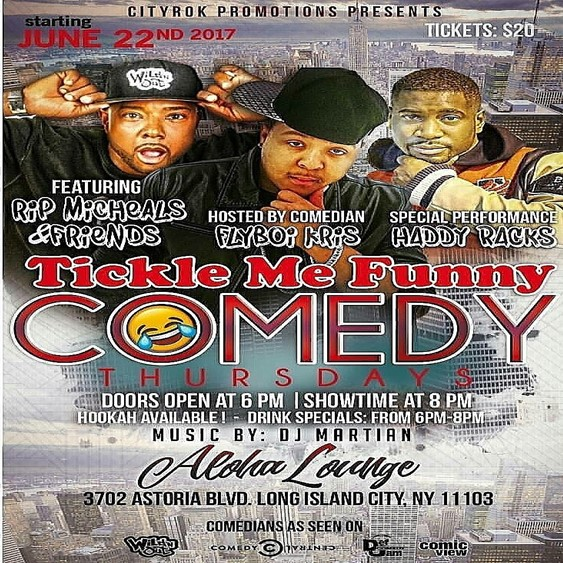 Tickle Me Funny Comedy Thursdays @ Aloha NYC Thursday June 22, 2017