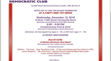 Holiday Party & Toy Drive @ 15 West 116 St Community Room Wednesday December 12, 2018